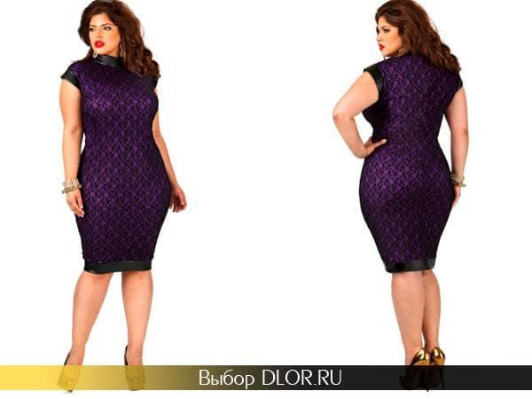 Гипюровое платье с коротким рукавом для полных