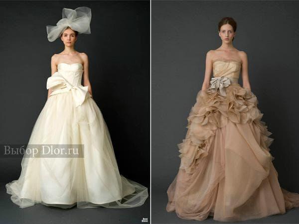 Свадебные платья кофейного цвета и цвета слоновой кости