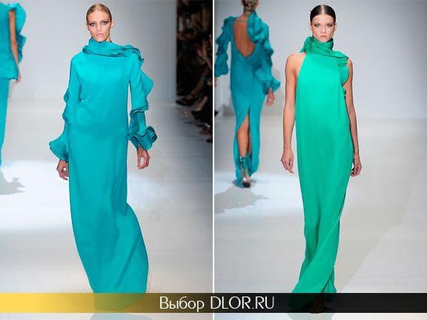 Бирюзовые платья в пол от Gucci