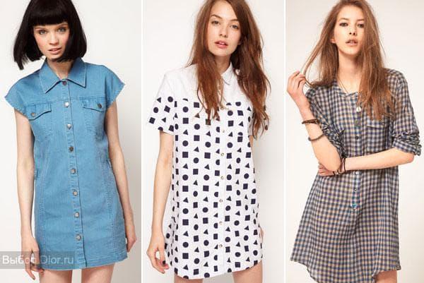Джинсовое платье-рубашка, летние варианты с принтами
