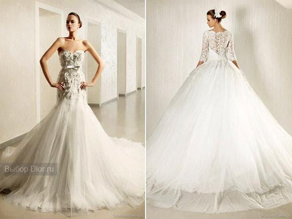 Свадебные платья обшитые кружевом и стразами