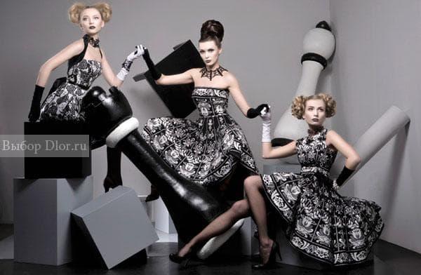 Стильные черно-белые платья