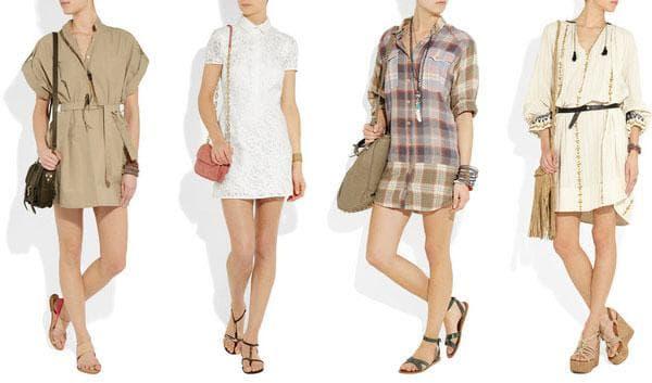 Стильные платья-рубашки в клетку, белая, с орнаментом