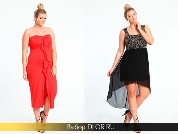 Красное летнее платье с драпировкой и черное платье-маллет