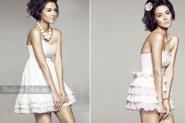 Фото стильных платьев с рюшами