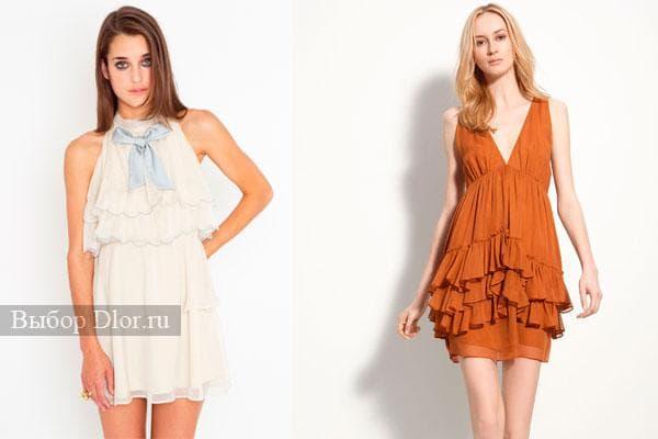 Короткие платья белого и оранжевого цвета