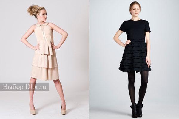 Строгие платья с рюшами для офиса