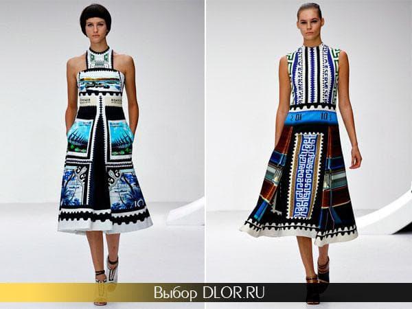 Платья средней длины от Mary Katrantzou с ярким принтом