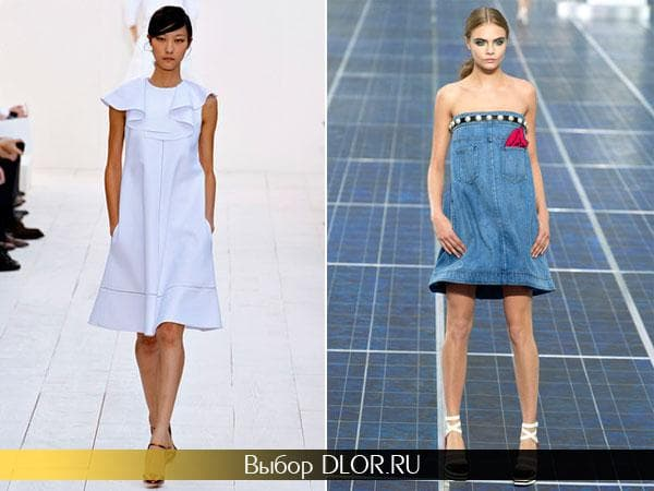 Белое платье Chloé и джинсовое от Chanel