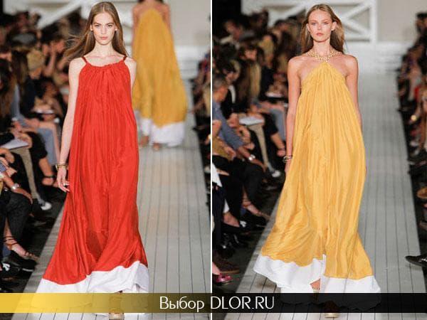 Оранжевое и желтое платье-трапеция на тонких бретелях