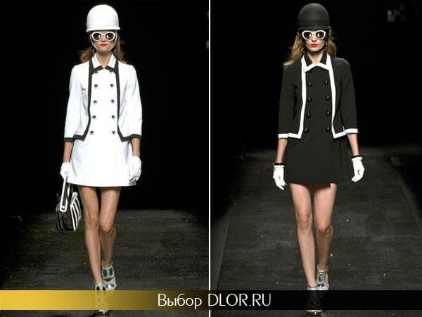 Белое и черное платье от Moschino в офисном стиле