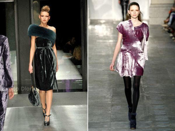 Модные вельветовые платья зеленого и розового цвета