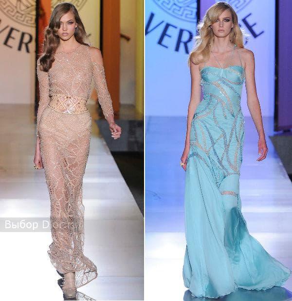 Длинные вечерние платья с камнями и стразами бежевого и голубого цвета
