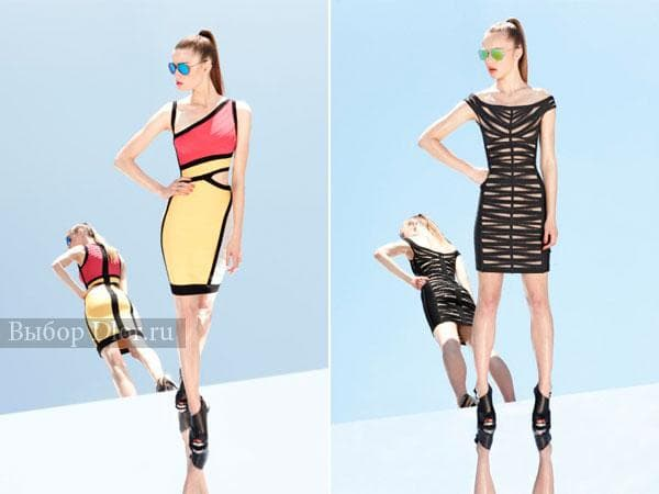 Желто-красное платье и черно-бежевое платье-футляр