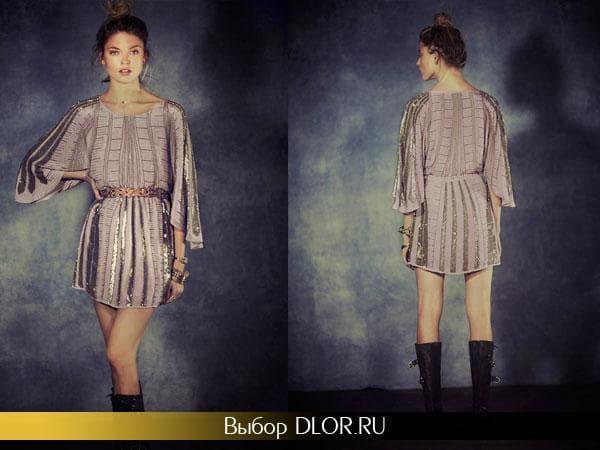 Платье-туника кофейного цвета с поясом