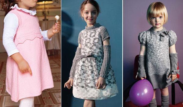Фото вязаных платьев для девочек