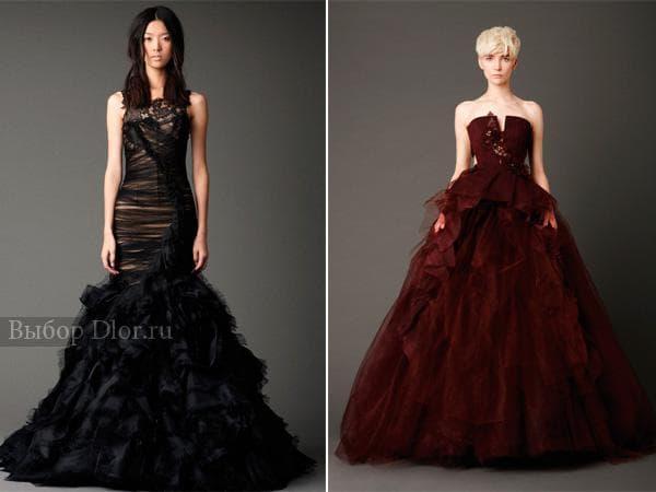 Черное и бордовое свадебное платье