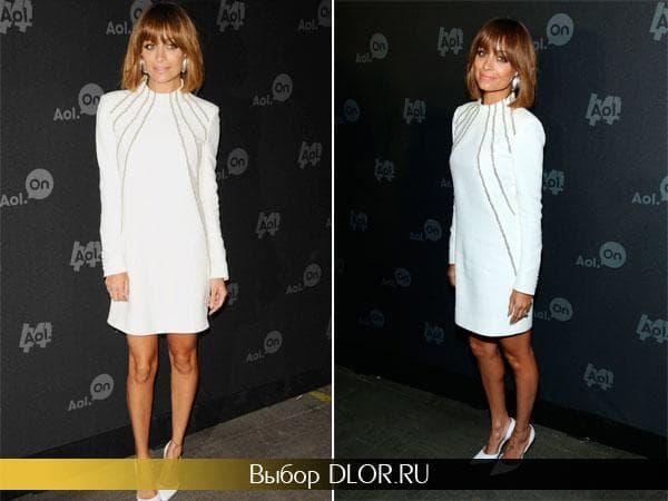 Белое прямое платье Николь Риччи