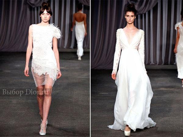 Короткое платье с кружевными вставками и платье с длинными рукавами в пол