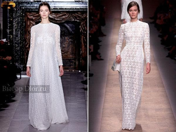 Белые наряды в пол от Valentino