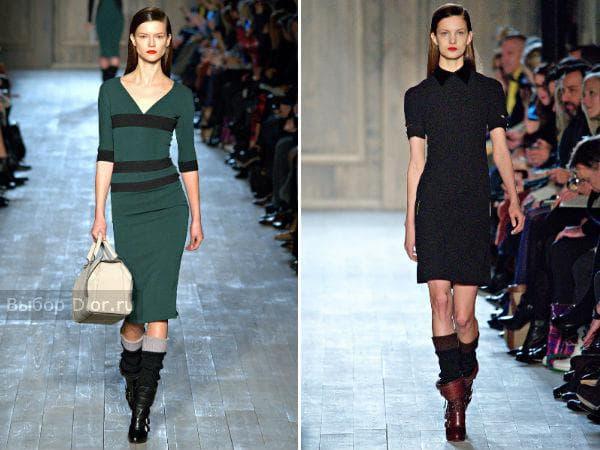 Зеленое и черное платье-футляр из щерсти