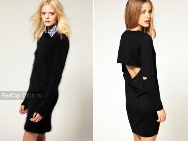 Короткие шерстяные платья черного цвета