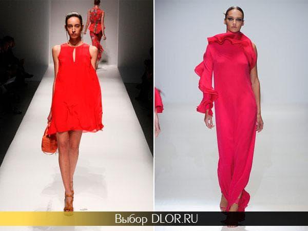 Ярко-красное и розовое летнее платье