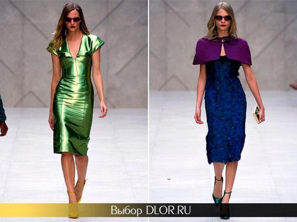 Зеленое и синее блестящие платья от Burberry Prorsum
