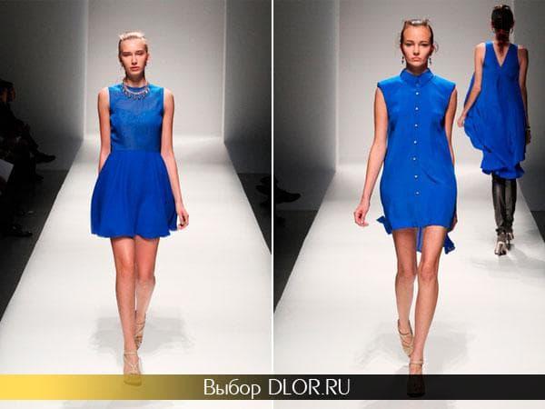 Короткое платье с пышной юбкой и платье-рубашка синего цвета