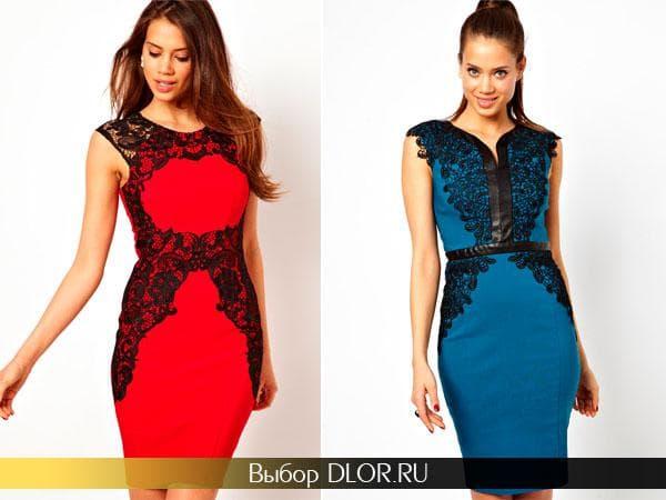 Красное и синее платье украшенное черным кружевом