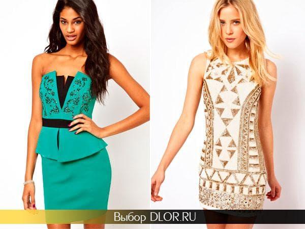 Бирюзовое и золотистое вечерние платья