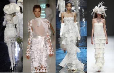 Белые вязаные модели платьев - фото