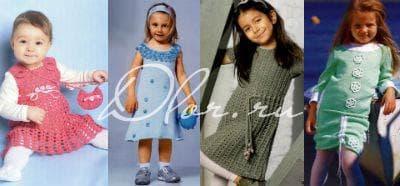 Вязаное платье для девочек. Фото