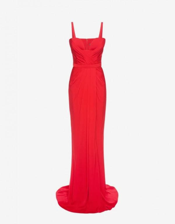 Красное брендовое бальное платье на выпускной