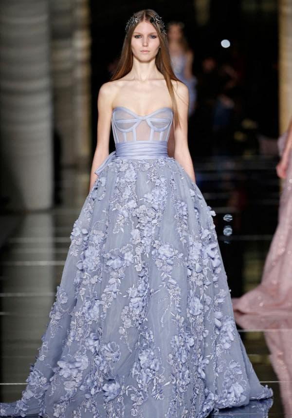 Вечернее синее платье Зухаир Мурад