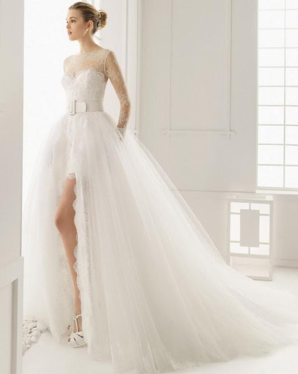 Свадебное платье трансформер со шлейфом и открытыми ногами