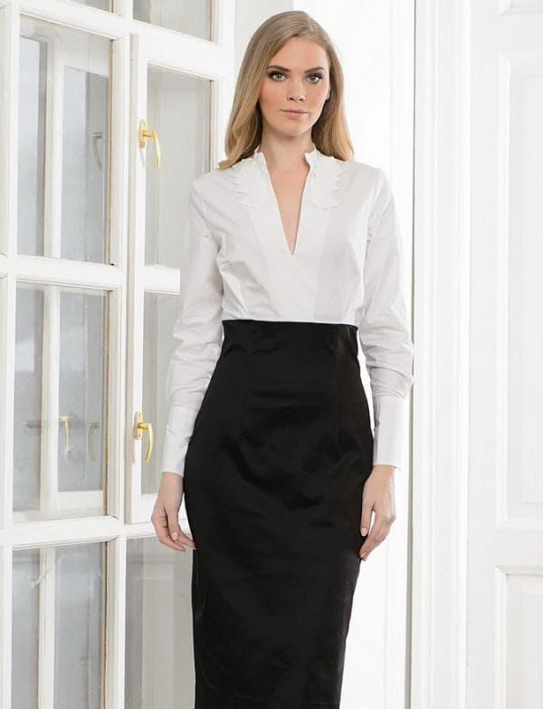 Платье черно-белое для офиса