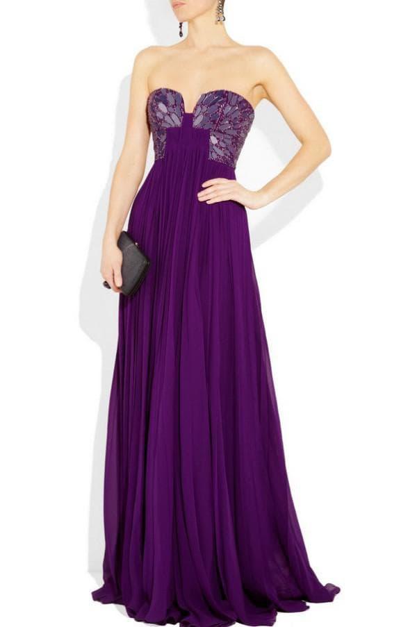 Дизайнерское фиолетовое платье в пол