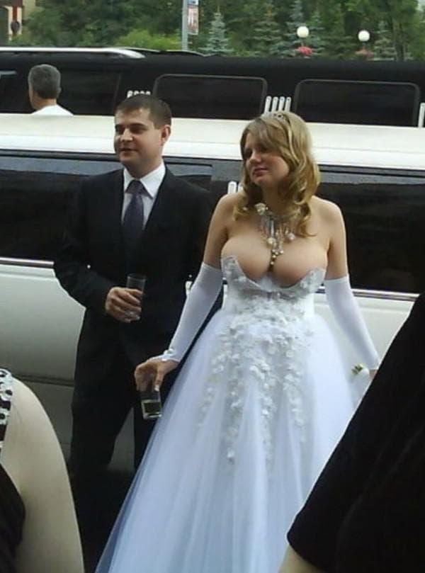 Смешное свадебное платье на полной женщине