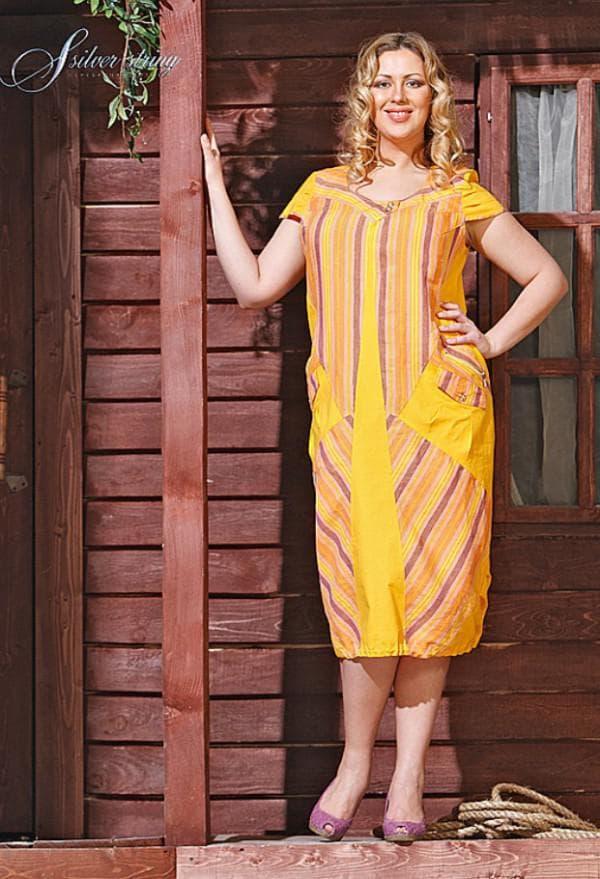 Желтое льняное платье большого размера