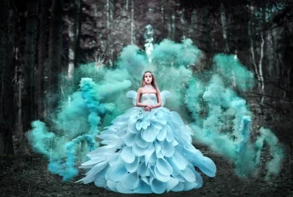 Пышное платье цвета тиффани