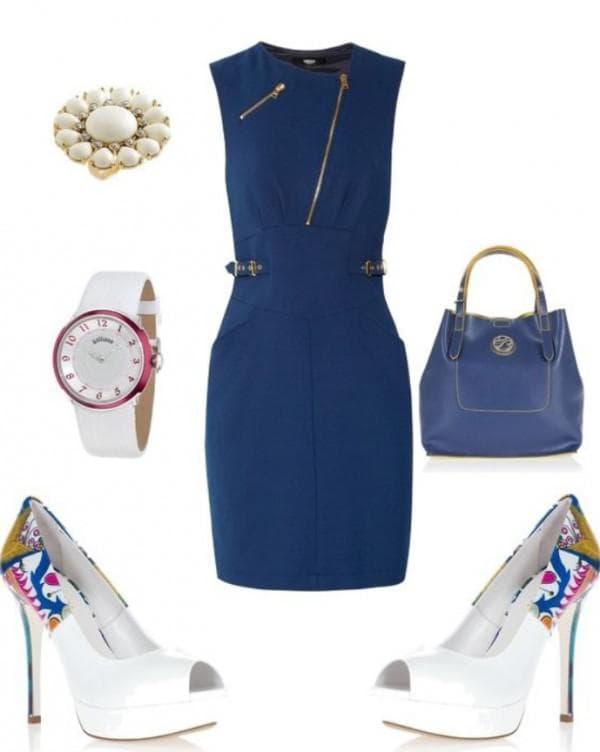 Белые туфли под деловое платье