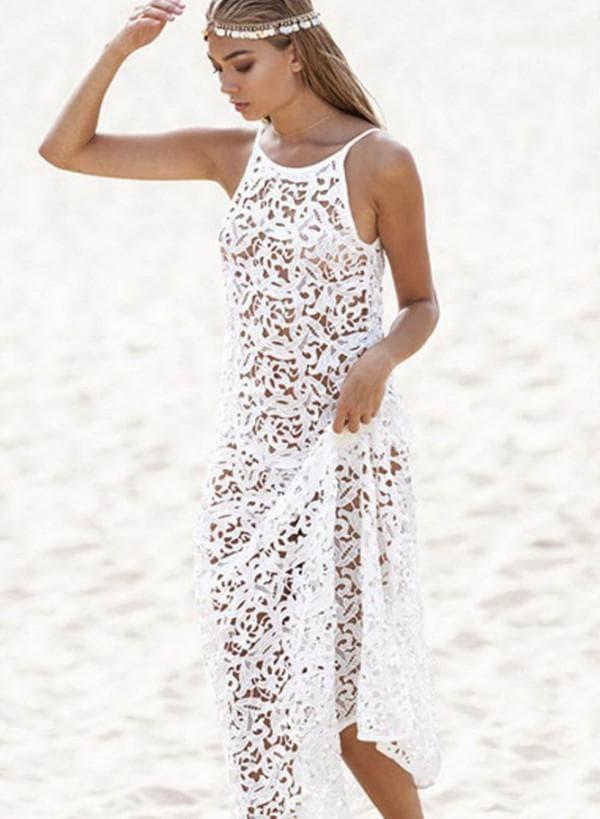 Белое кружевное платье для пляжа