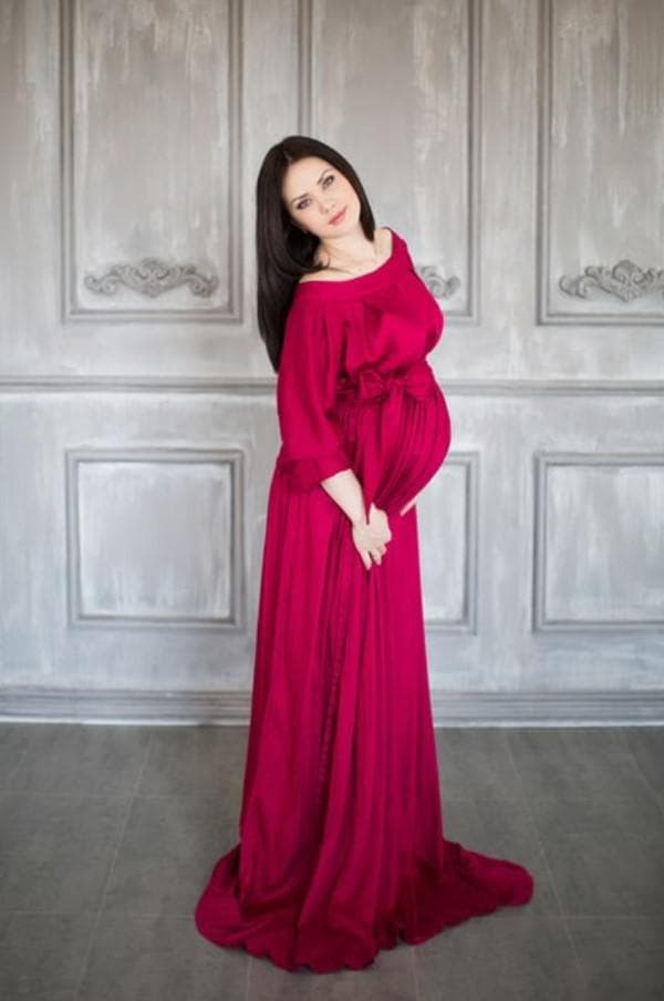 Красное вечернее платье для беременной