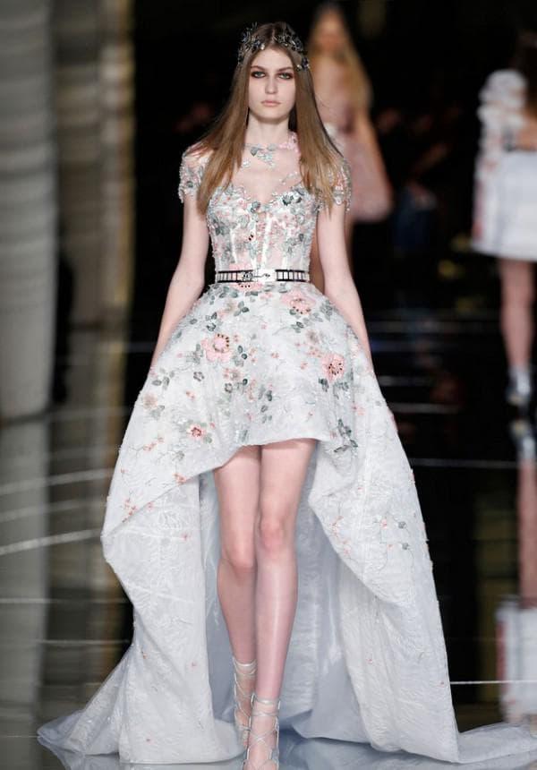 Вечернее платье моллет с цветами