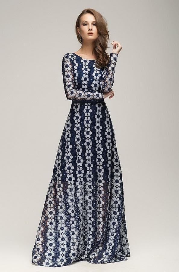 Длинное сине белое платье в пол