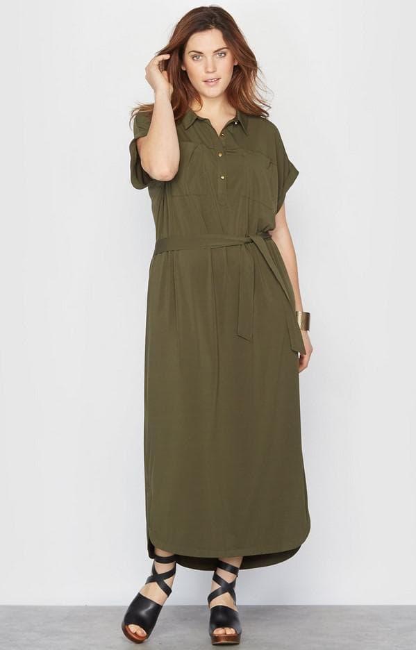 Длинное платье сафари большого размера