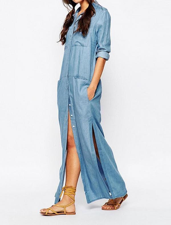 Платье халат из джинсового материала