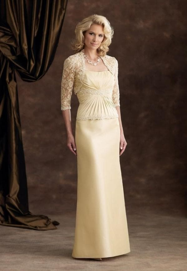 Жёлтое платье в пол для мамы жениха