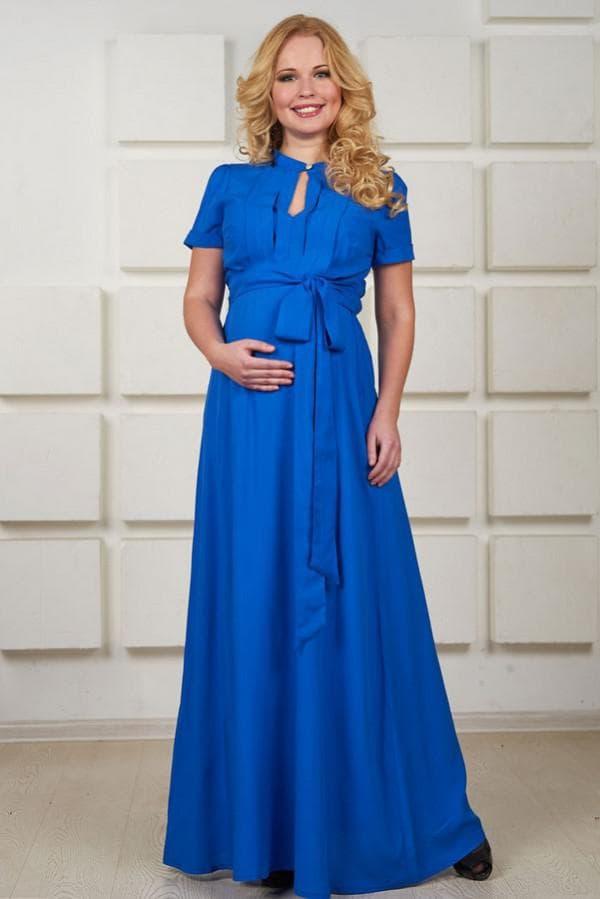 Синее платье в пол для беременной